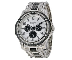 Norman Hege Jewelers | Diamond encrusted Bulova watch in a silver setting against a white background